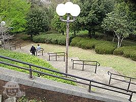 芝生広場から簑沢広場へ続く道