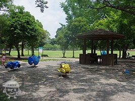 スプリング遊具と砂場